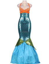 Fancy Sexy Girl Brilliant Blue Mermaid Costume