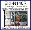 "1U storage chassis with 4x3.5"" Hot-swap Drive bay/rackmount server case/pc case"