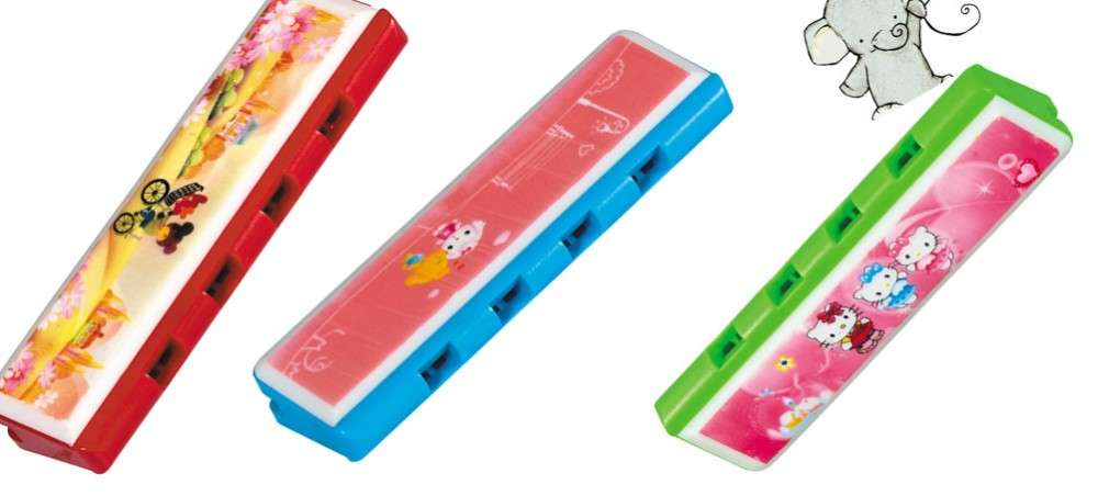 4 holes cheap plastic cartoon harmonica for little kids for sale