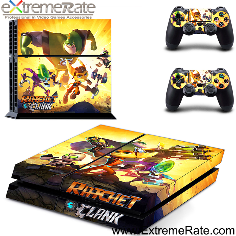 Vedio game accessories ratchet clank for Playstation 4 for PS4 vinyl sticker and console controller skin cover for PS4