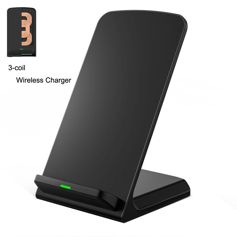 3 Coils charger QI Wireless Charger fast charge for iphone Stand portable charging station for Samsung universal phone charger