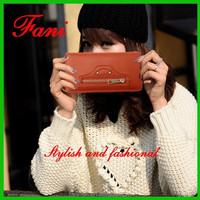 Newest & luxury deisgn high quality genuine/pu clutch leather wallets bag for girls