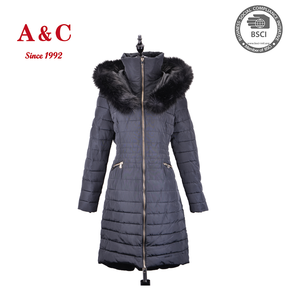 Latest Design Women Long Slim Trench Coat With Fur Hood