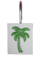 Resin coconut tree designs shower curtain hooks set