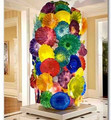 Hotel decoration project Hand blown colorful glass plates art floor lamps
