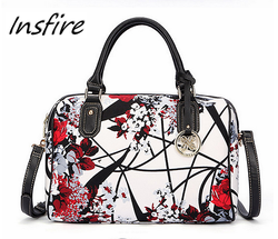 New design lady printing flowers handbags PU leather vintage women's bag in barrel style