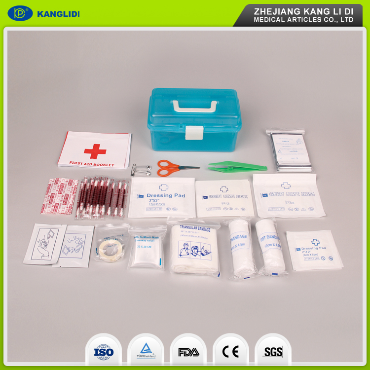 KLIDI Newly Sell Complete Automobile Bicycle Travel Survival First Aid Kit With Plastic Box