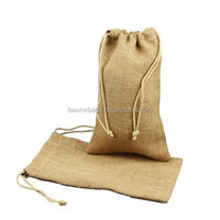 Burlap Jute Favor Bags with Drawstring Closure for Wine Bottle