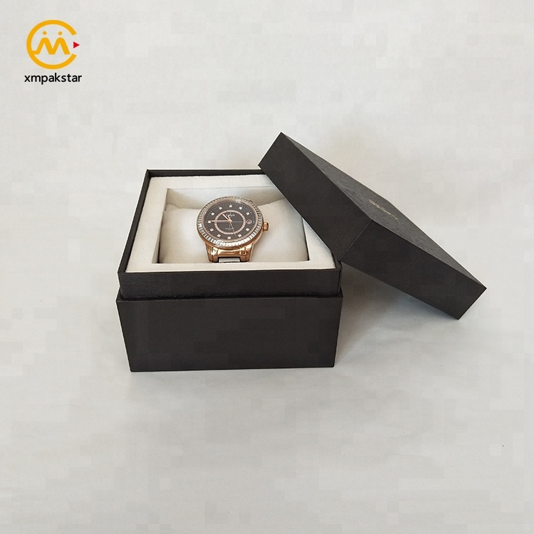 High end custom logo black cardboard special paper watch packaging gift paper box
