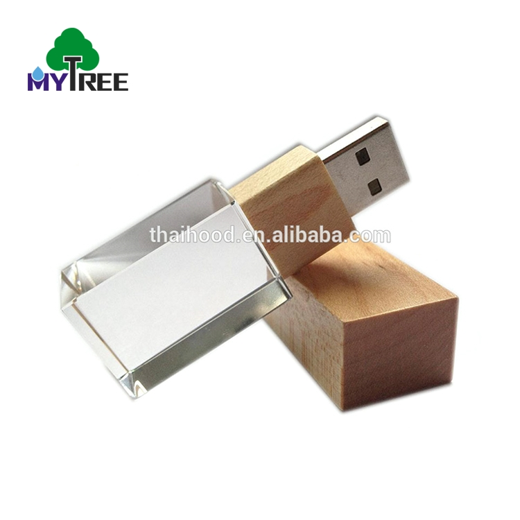 High grade crystal custom wooden memory transparent usb flash drive with logo