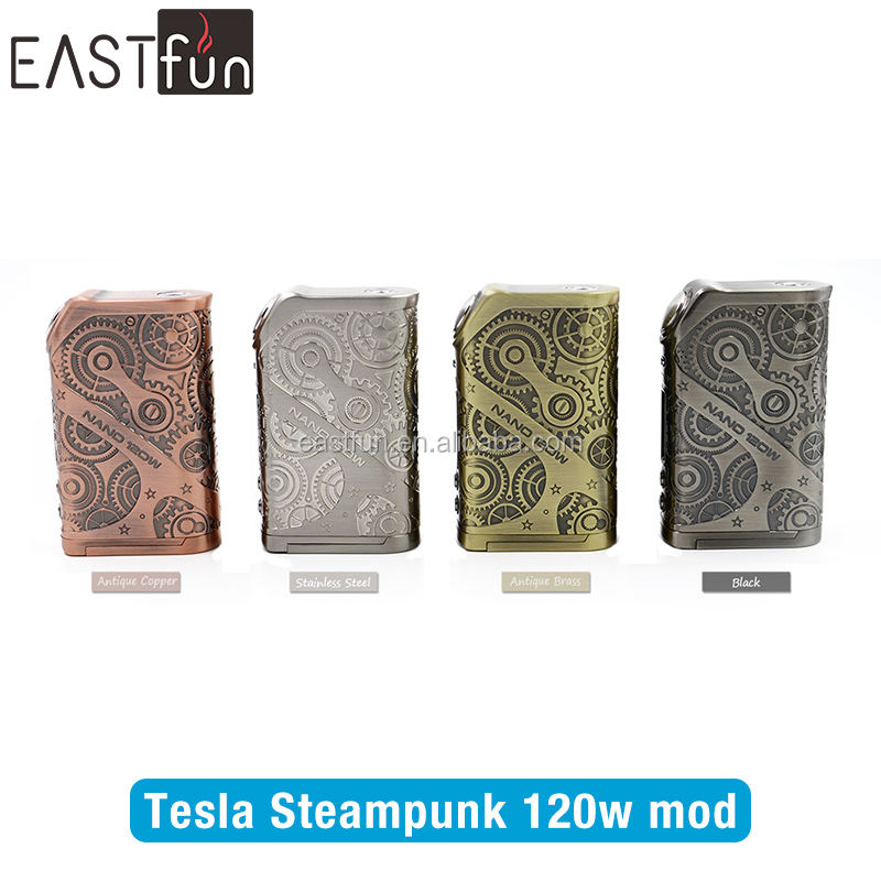 Elefun new arrival Tesla Steampunk Style Nano 120W power bank vape mod Cheap Sale