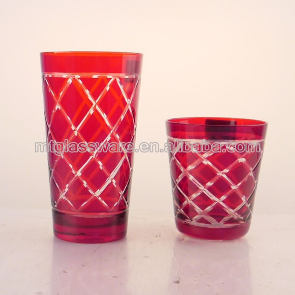 wholesale red with cutting decoration glass tumbler/ christmas drinking glass cup