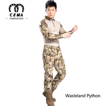 Multi color outdoor clothing python camo tactical suit army uniform