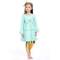 Mint and Gold Polka Dot Birthday Outfit Confection & Gold dots Long Sleeve Set Wholesale Children's Boutique Clothing