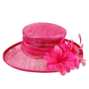 Royal Sinamay Red Hat Fabric Feather Fascinator Hats For Women Tea Party