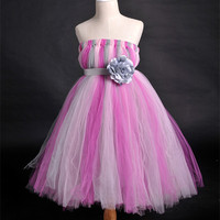 Beautiful Flower Girl Princess Tutu Chiffon Dress Kids Casual Ball Gown Calf Length Birthday Party Dress For Wedding