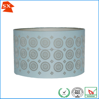 Top art teal blue round lining fabric cut out metal nightstand diy lamp shade