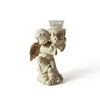 Resin golden wing angel candle holder