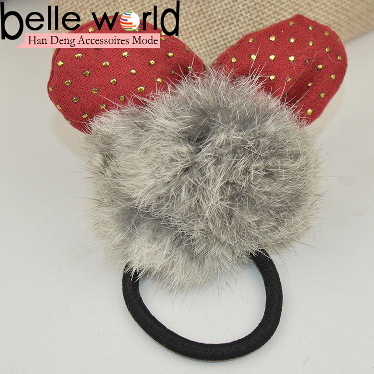 2016 New Fashion Plush Ball Hair Circle Rabbit Fur Hairbands Accessories