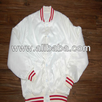 white satin varsity jackets with red and white ribbing