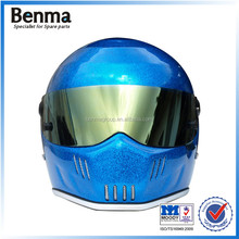 DOT certificate fashional twinkle blue&gold racing motorcycle helmet,glass steel hull bulletproof lens warm helmets motorcycle