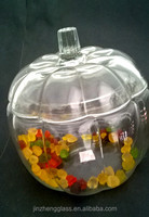NEW Anchor Hocking LARGE GLASS PUMPKIN JAR w/ Cover Halloween Candy Bowl COOKIES