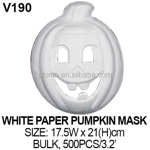 3D KID CRAFT WHITE HALLOWEEN PUMPKIN PAPER MASK