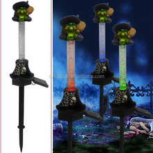 Polyresin witch crystall Halloween ornaments solar stake light
