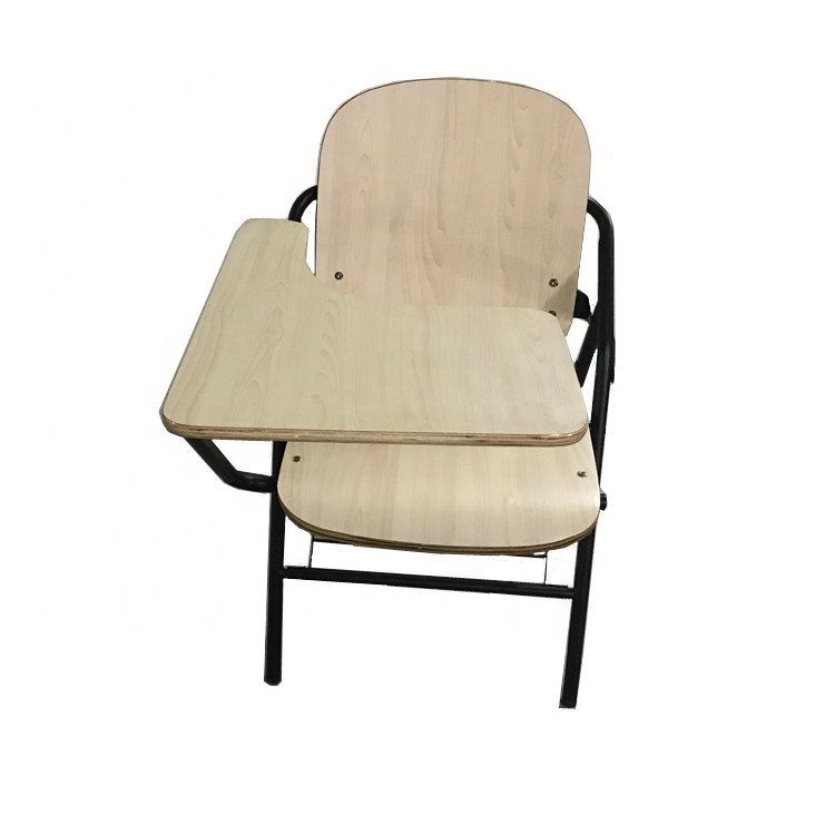 ISO9001 foldable student plywood seat and back training chair with writing pad