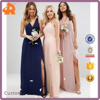 2017 Petite Wedding Pleated Maxi Dress Bridal with Split Hem and Zip-back Fastening