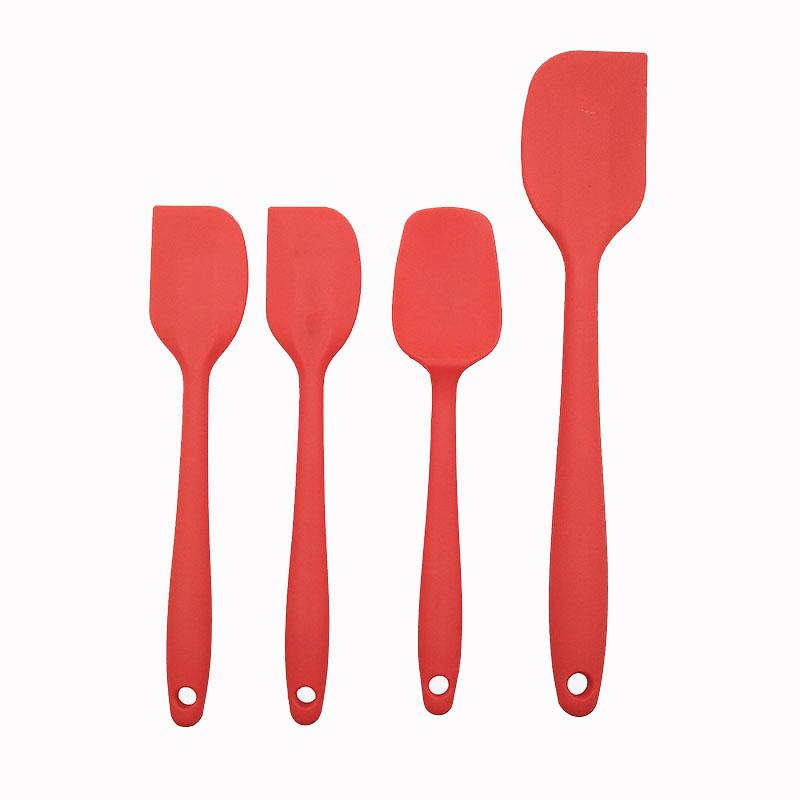 4 Pcs Durable Silicone Spatula <strong>Set</strong>,Heat Resistant Cake Spatula Spoon