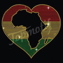 Deocration rhinestones African Map Flag Love Afro Rhinestone Motif Sticker