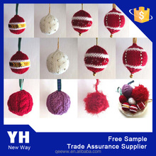 custom acrylic knitted chirstmas ball Xmas decoration