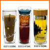 500ml New BPA free wide mouth custom printed novelty glass water drink bottles with bamboo lid