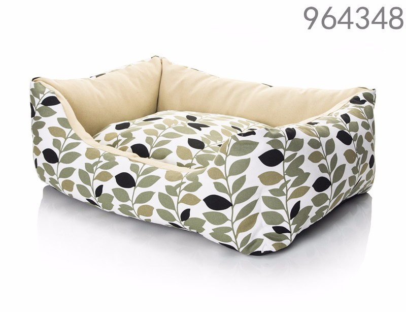 newest design waterproof canvas fabric nature leaf printing pattern rectangle dog pet bed with removable cushion