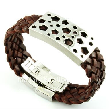 Personalized Engraved Cheap Wide Brown Braided Genuine Leather Bracelet for Women
