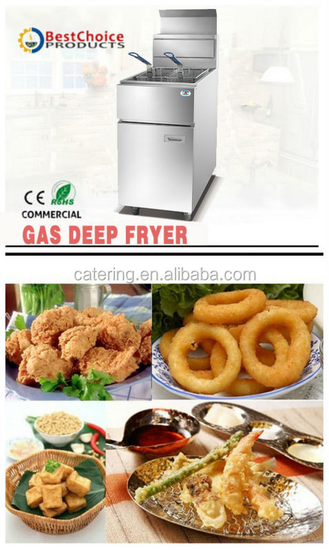 HGF-778 25L Gas Thermostatic Control Stainless Steel Fish Chips Chicken Deep Fryer