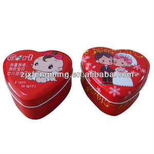Heart-shaped printed wedding gift box candy box child celebration metal tin cans