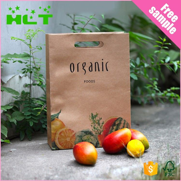 Good quality hot sell die cut hole brown kraft paper bag with Full Printing Solution