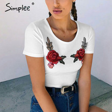 Simplee Embroidery tank top knitted bustier crop 2017 summer women t shirt wholesale china with Vintage style