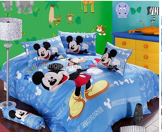 100% polyester brushed fabric Mickey cartoon printed bedding set for children