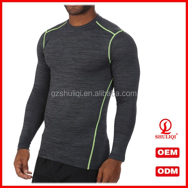 Competitive price gym sport wear long sleeve compressed t shirt tight fit t shirt