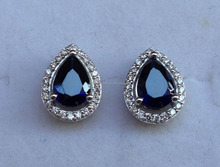 2017 latest silver Lab Created blue sapphire Earring studs FOR WOMEN