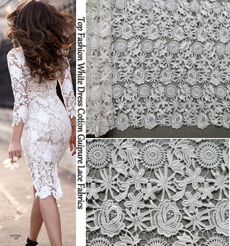 Wholesale white dress lace fabrics pure color cord lace swiss lace fabrics made in china
