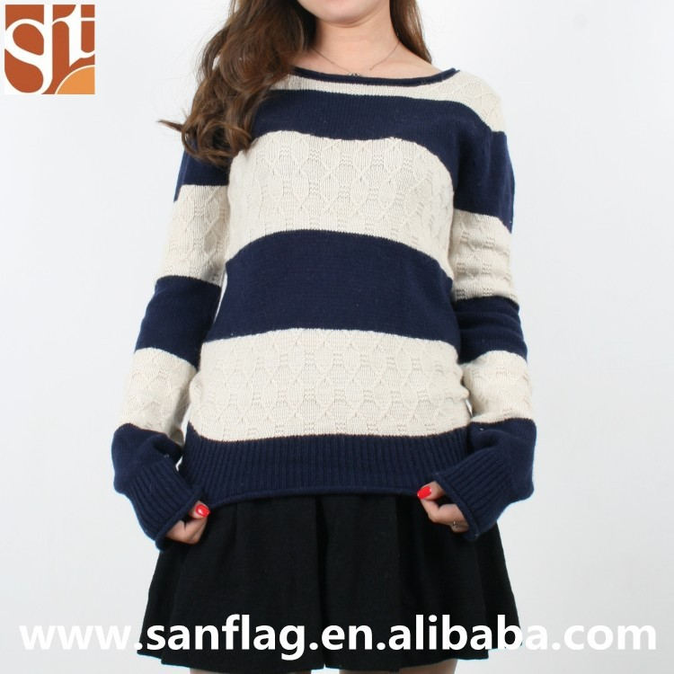 2016 new styles ladies design long sleeve jumper tops wool/angora pattern chunky stripes knitted sweater from sanflag in china