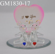 Valentine or wedding glass cute couple bear gifts with heart and base