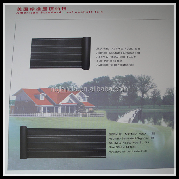 asphalt saturated organic paper roofing felt ASTM D-4869 and ASTM D-226