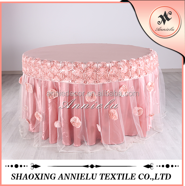 Fancy organza rosette table cloth/Wedding round tablecloth hot sale