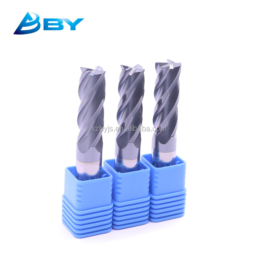 Ultra Micro Grain Carbide 4 Flute End Mills Flat Milling Cutter Square Endmill
