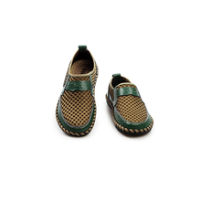 2017 Chinese Summer Soft Vintage PU Flat Shoes, Green Sandal Shoes For Men